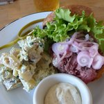 tri tip sandwich with a side of potato salad and horseradish sauce