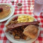 bacon, eggs, potatoes, buscuit