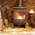 Cosy log fire in winter