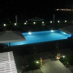 View of pool from Room 9 at night