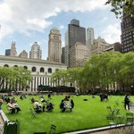 The Bryant Park and New York Public Library in the background