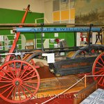 Original horse-drawn firefighting equipment from the Nogales Fire Department, on display at the