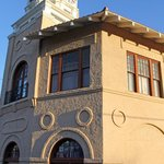 The south side of the Pimeria Alta Museum features a clock tower that is a symbol of downtown No