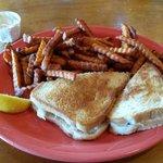 Crab Melt with Sweet Potato Fries!