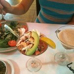 Tomato salad, crab app and chocolate mint martini