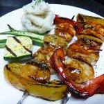 Grilled prawn & scallop brochettes umami sauce