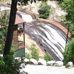 View of Lake Toxaway falls from Chestnut Cafe and Grill