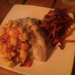 Fresh seabass with a mango pineapple salsa was to die for!