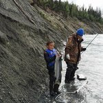 My 7 year old grandson with his first line-caught Sockeye Salmon.