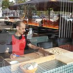 Manuel preparing today's fresh pasta in the front window, lots of people enjoy watching!
