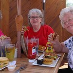 Three friends from class of 1963 enjoying lunch at Cooper's