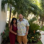 The wife and me in the hotel grounds