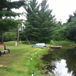 Pond, paddle boats,swimming and fishing area behind the motel