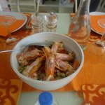 Our Farro Salad with Steamed Prawns
