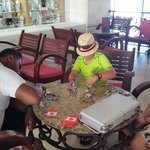 Tyler and Magic playing blackjack