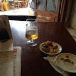pre-lunch beer and nibbles.