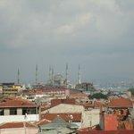 Utsikten från takterassen,blå moskèn