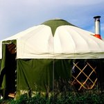 Our lovely yurt complete with a wood burner!