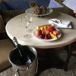 Upon arrival, fresh fruit and prosecco...