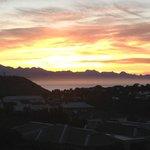 Sunrise over Plett from the top balcony