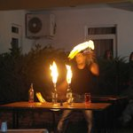 Fire eater display performed by one of the Bar staff