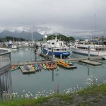 The Valdez harbor. Sea Kayaks are waiting for the next tour
