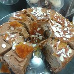 Coffee Caramel Cake with Almonds