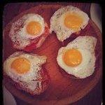 Cojonudo Murcian - spread chorizo and fried quail eggs,served on toasted bread