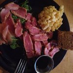Ahi Tuna meal with Mac n cheese & sweet potato cornbread