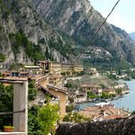 View of Hotel from Limone yellow building, secret swimming pool lemon grove to the Lower left