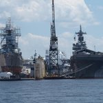 Navy vessels in privately owned repair yards (USS Stout and USS Wasp)