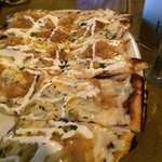 Honey Carmelized onion and goat cheese pizza
