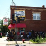The line at Hot Doug's at the corner of North California and West Roscoe