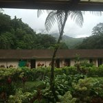 Arenal volcano with top covered in clouds