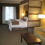 Spacious room, comfortable bedding, quiet A/C