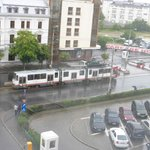Vintage trams viewed from the room