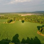 Our balloon, casting a shadow on the Virginia fields...