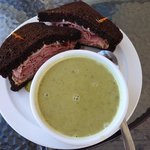 Montreal smoked beef on rye and another amazing soup.