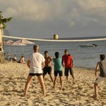 Beach volleyball in progress