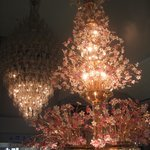 One of the many impressive glass chandeliers