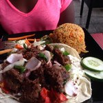Nigerian beef suya and spicy rice