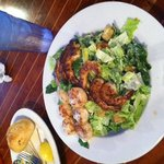 shrimp cesar salad with scallops