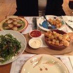 Beet root salad and Patatas Bravas