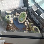View down to pool from bedroom window in suite 2704.