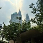 View of Petronas Towers from pool area.
