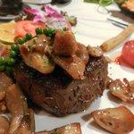 A slightly blurred photo of my amazing 150g tenderloin steak. It was like biting into heaven.