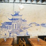 Historic Willow pattern used to create a handpainted mural in the Middleport Cafe