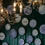 The wall of plates in the Burleigh Shop.