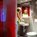 Badezimmer in der Pension Stadthalle