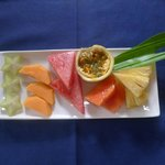 Our breakfast fruit platter with different colours and flavours.
